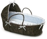Badger Basket Moses Basket Gingham with Hood and Bedding, Espresso/Blue by