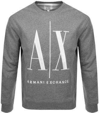 Armani Exchange Crew Neck Logo Sweatshirt Grey