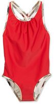 Burberry Beadnell Check-Trim One-Piece Swimsuit, Red, Size 4-14