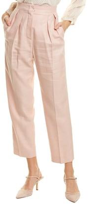 Max Mara Pleated Silk & Linen-Blend Trouser
