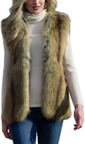 Cocobla Women's Plain Color Faux Fur Vest Gilet Sleeveless Coat Jacket with Front Clasp Closure (, Brown)