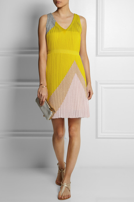 Missoni Pleated color-block stretch-knit dress