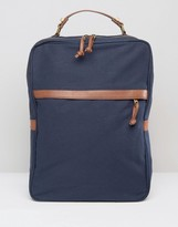 Asos Smart Backpack In Navy Canvas