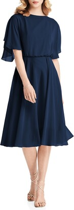 Jenny Packham Flutter Sleeve Open Back Chiffon Cocktail Dress