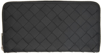Bottega Veneta Black Intrecciato Zip Around Wallet