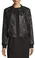 Bagatelle Floral Leather Lace Bomber Jacket, Black/Pink