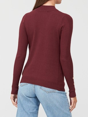 Very Turtle Neck Button Sleeve Detail Jumper