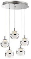 clear Senters 5 - Light Cluster Globe LED Pendant Orren Ellis Finish: Polished Chrome, Shade Color