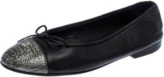 Chanel Black Leather Bow CC Cap Toe Ballet Flats Size 40