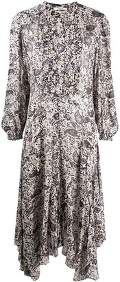 Etoile Isabel Marant Handkerchief-Hem Paisley Midi Dress