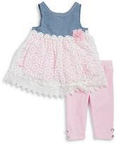 Nannette Girls 2-6x Little Girls Lace Dress and Leggings