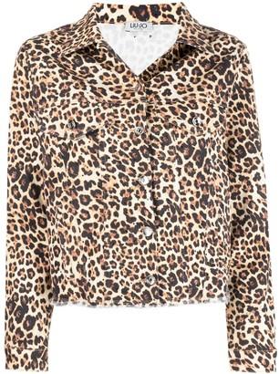 Liu Jo Leopard-Print Raw-Cut Jacket