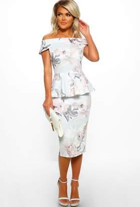Pink Boutique Beauty Bombshell Grey Floral Print Bardot Midi Dress