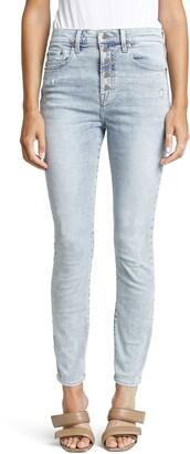 Pistola Denim Aline Distressed High Waist Button Fly Ankle Skinny Jeans