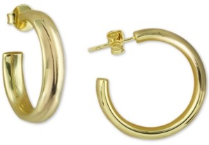 Argentovivo Small Polished Hoop Earrings in 18k Gold-Plated Sterling Silver, 1""