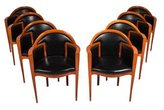 Roche Bobois Mid-Century Modern Wood and Black Leather Armchairs