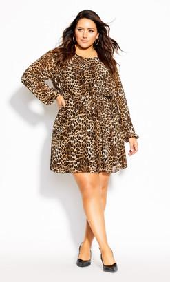 City Chic Cute Animal Dress - ochre