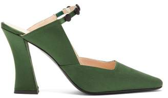 STAUD Melanie Curved-heel Satin Mules - Womens - Green