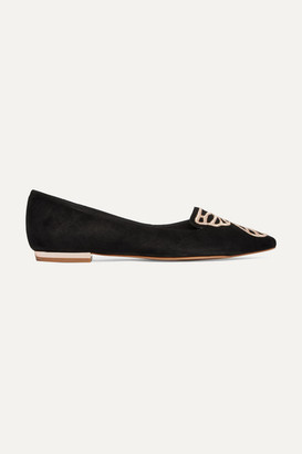 Sophia Webster Butterfly Embroidered Suede Point-toe Flats - Black