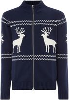 Gant Men's Reindeer Zip-Through Knitted Jumper