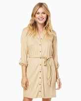 Charming charlie All Buttoned Up Suede Shirtdress