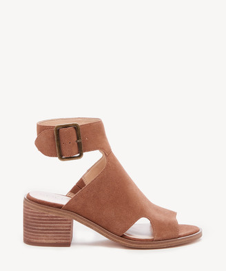 Sole Society Women's Tally Block Heels Sandals Honey Size 5 Suede From