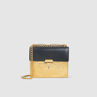 Mark Cross Black Zelda Crocodile-Effect Leather Bag