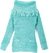 Dollhouse Mint Pocket Cowl Neck Sweater - Toddler & Girls
