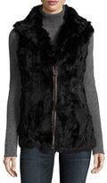 Neiman Marcus Rabbit Fur Sleeveless Vest, Black/Brown