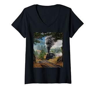 Womens Train Steam Engine Locomotive V-Neck T-Shirt