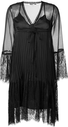 Mcq Swallow Embroidered Lace Plisse Dress