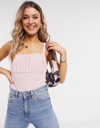 New Look ruched bust cami in pale pink