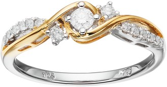 I Promise You Two Tone Sterling Silver 1/4 Carat T.W. Diamond 3-Stone Promise Ring