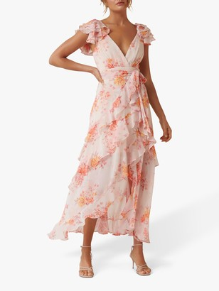 Forever New Ellery Ruffle Detail Floral Maxi Dress, Canyon Sunset