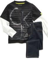 Calvin Klein Jeans Set, Little Boys CKJ Logo Tee and Denim Set