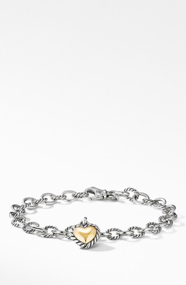 David Yurman Cable Cookie Classic Heart Charm Bracelet with 18K Yellow Gold