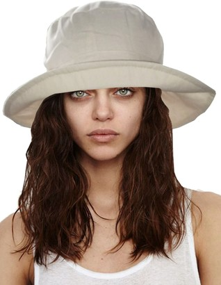 I Smalls Ladies Wide Brim Sun Hat With Pleated Crown & Trim .One Size. UPF 50+ Colour Beige