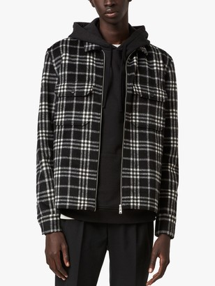 AllSaints Holdt Check Zip Front Shirt, Black