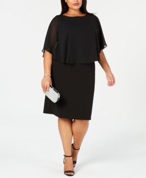 Connected Plus Size Chiffon Cape Sheath Dress