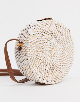 Asos DESIGN structured rattan circle bag with white weave
