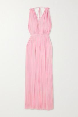 ELENA MAKRI Nemea Open-back Draped Silk-tulle Maxi Dress - Pink