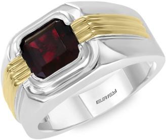 Effy Sterling Silver, 14K Yellow Gold & Garnet Ring