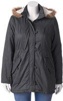 Urban Republic Juniors' Plus Size Twill Faux-Fur Anorak Jacket