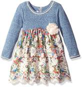 Bonnie Jean Toddler Girls' Knit Floral Printed Voile Scallop Border Dress