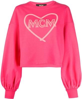 MCM Heart-Print Branded Sweatshirt