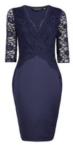 Dorothy Perkins Womens Navy Lace Top Bodycon Dress