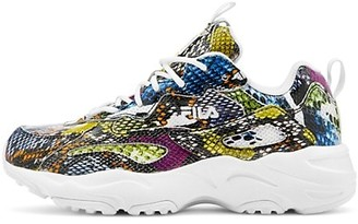 Fila Ray Tracer Snakeskin-Embossed Leather Patchwork Sneakers