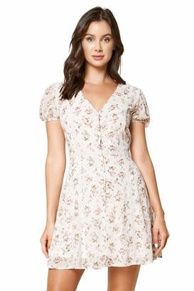 Sugar Lips Sugarlips Women's Dream in Color Floral Print Button Up Mini Dress