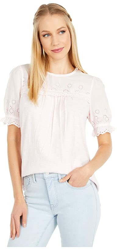 Lucky Brand Short Sleeve Crew Neck Woven Mix Top (Primrose Pink) Women's Clothing