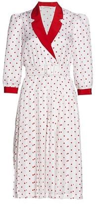 Rodarte Polka Dot Pleated Silk Dress